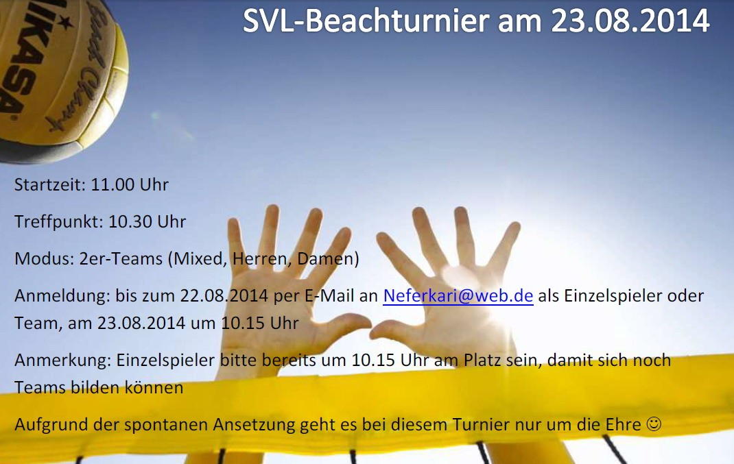 Internes Beachvolleyballturnier am 23. August 2014